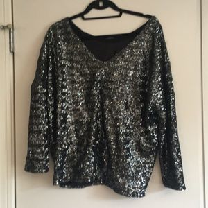 Zara medium gray sequence shirt with a V neck back